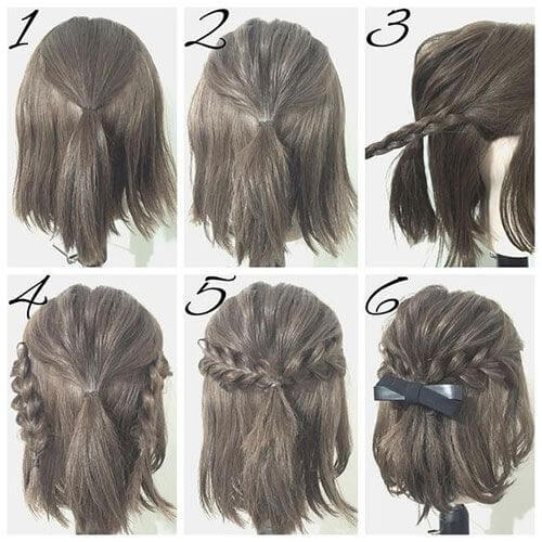 If your hair is just above shoulder length, you can recreate this braided look with a hair elastic and a bow.