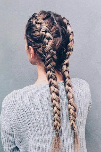 Girl with Dutch long, ombré double braids.