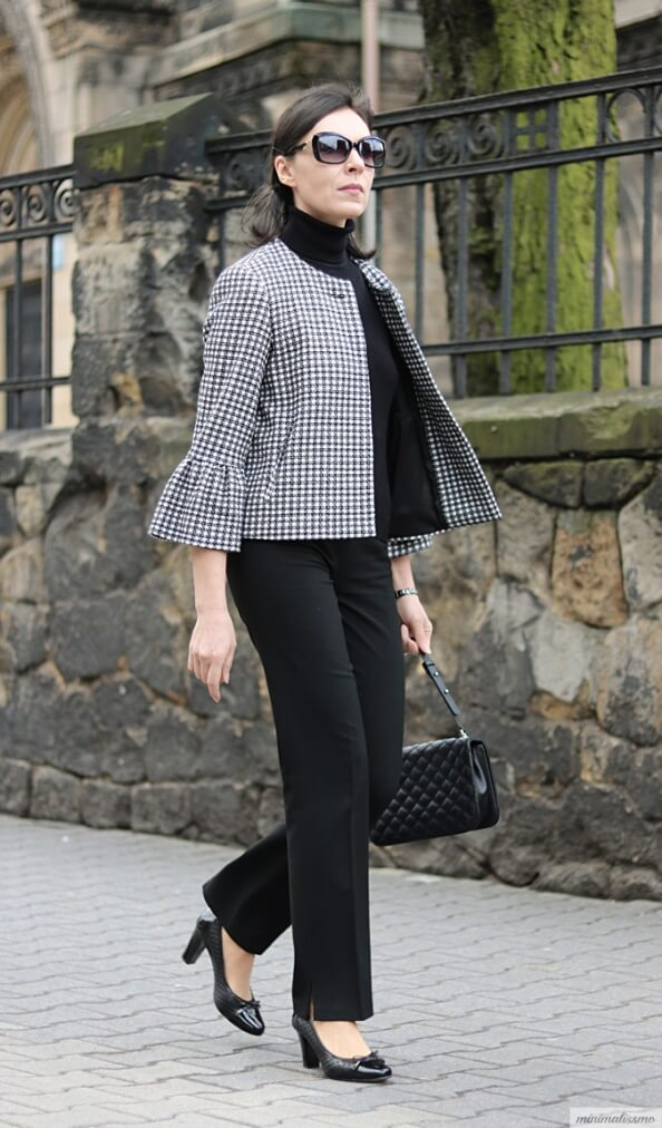 "Smart and elegant, pattern and black- we're here for it! This outfit is perfect for boss ladies who enjoy the color black. But the ever-trendy ""houndstooth"" patterned jacket (or a coat) is here to give a twist to a monochromatic look."