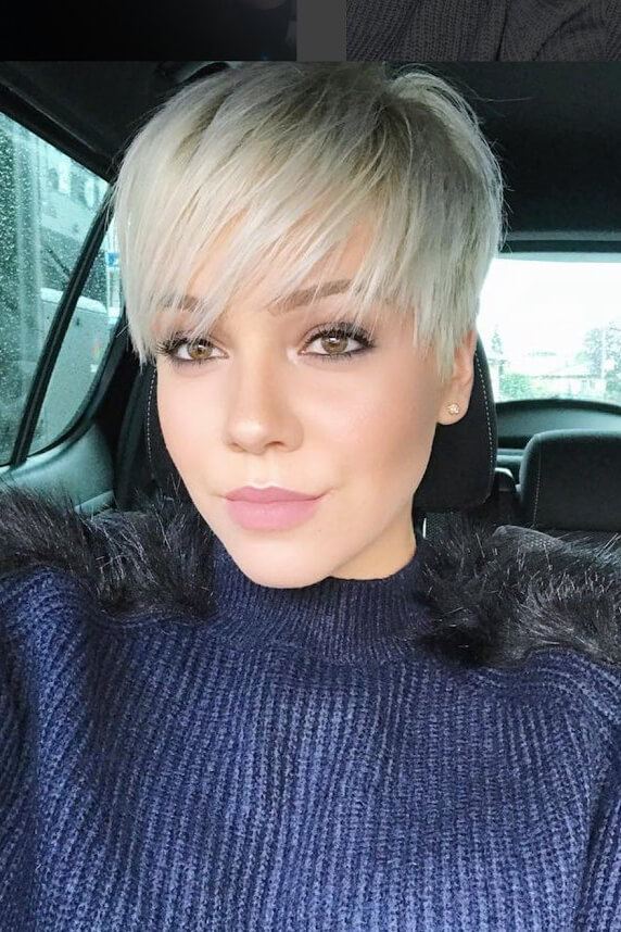 Long straight bangs look fabulous with a pixie