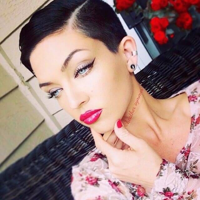 Slicked down pixie styles look gorgeous with feminine red lipstick.