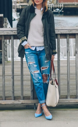 Boyfriend jeans can be preppy if worn the right way. Layer a button-down shirt under a sweater and military parka for a fall look that's bang on trend.