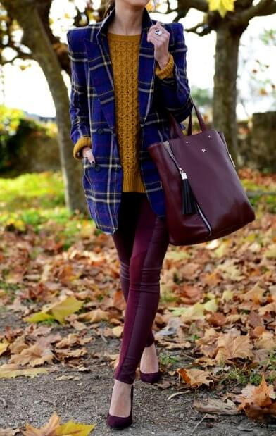 This outfit makes use of bold, daring colors plus a pop of preppy blue tartan tweed – just gorgeous!