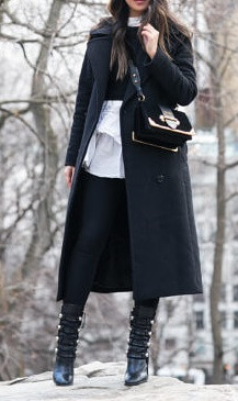Here is an outfit of masculine items worn in an elegantly feminine, preppy way. Get the same effect by wearing slim-fitting jeans and high-heeled boots under layered fabrics on top. A long military-style coat is the perfect sophisticated touch to polish it all off.