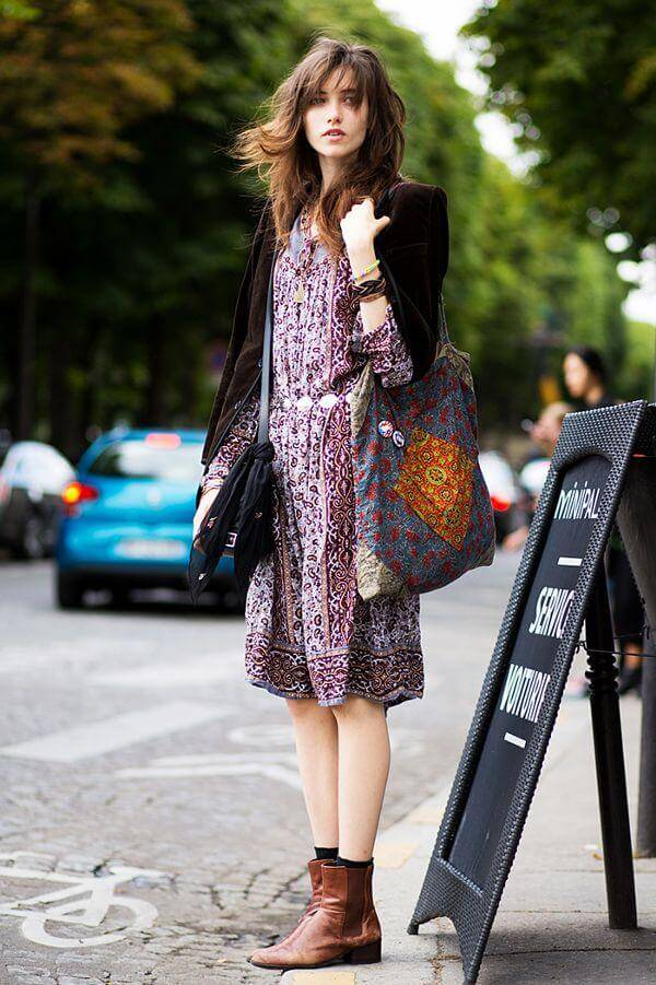 Give your summery boho dress a fall makeover by pairing it with a blazer and comfy brown booties