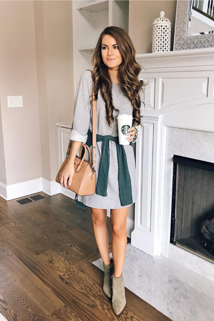 Sweatshirt dresses with booties are absolutely perfect for fall! Add a 90s element to your look by tying a sweater around your waist