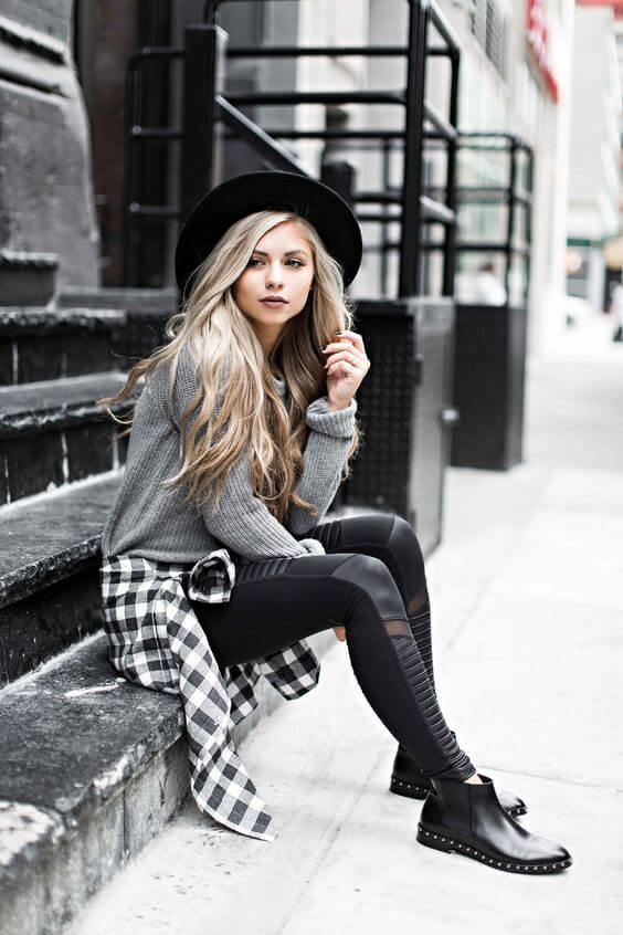 Just because this combination has been around forever, doesn't mean it has to be boring. Wear a pair of cool leggings with studded booties and a wide brimmed hat.