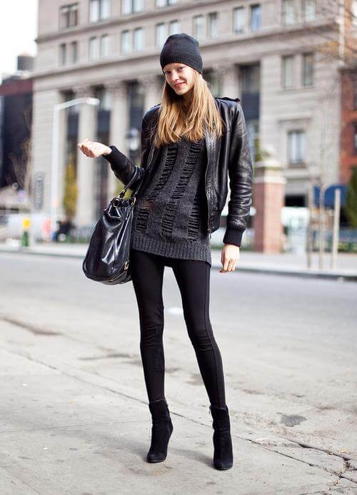 Stay stylish all day long in this all-black look. Play with texture by adding a leather jacket over your jumper and get ready to slay!