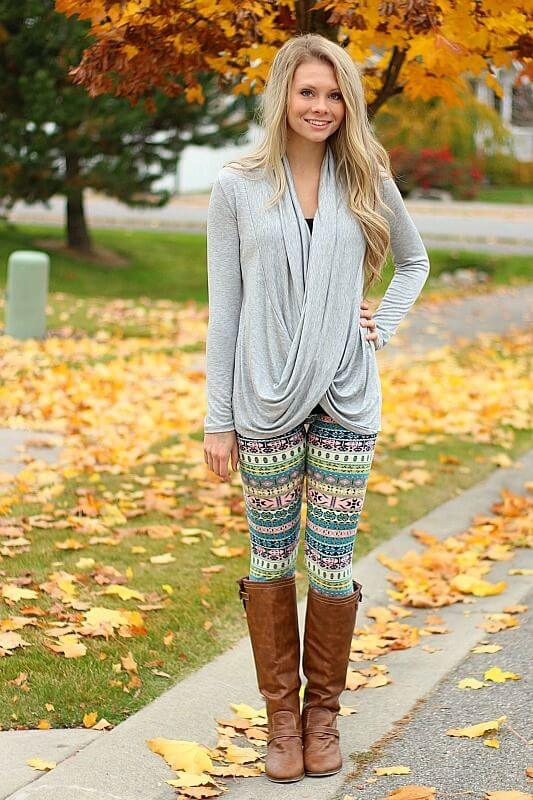 Printed leggings are a remarkable change from boring solids. Add a top with a drapey effect and brown boots to truly stand out.