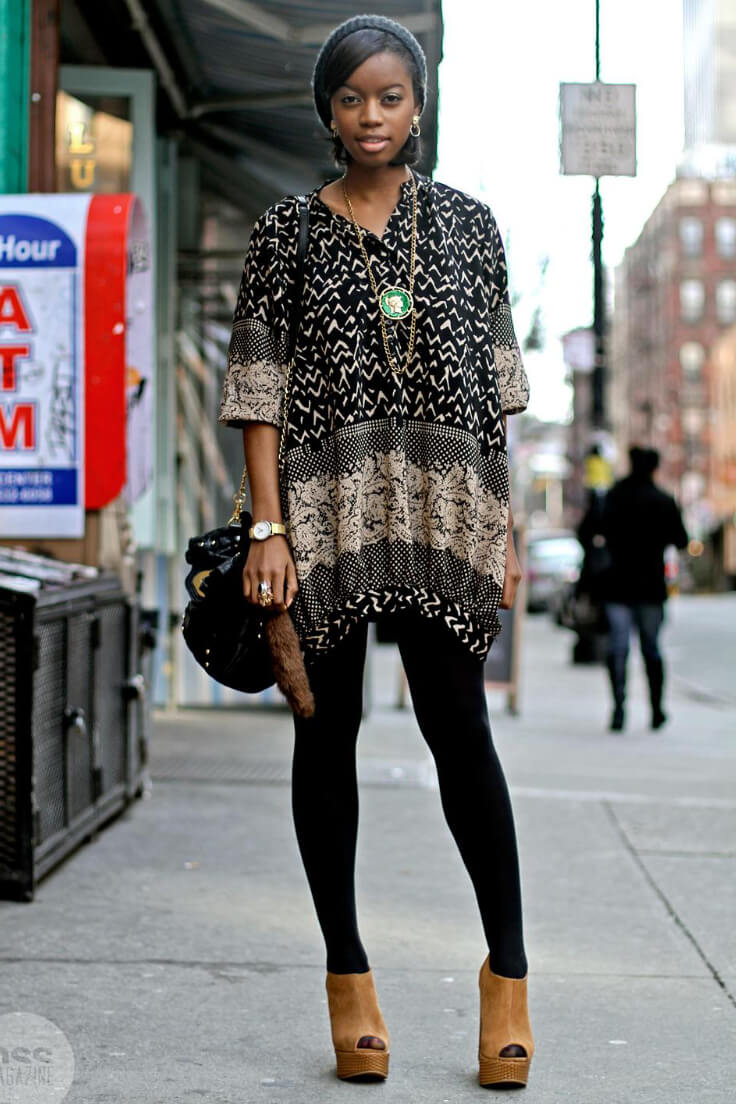 For a boho-inspired fall look, try a printed tunic like this one with plain black leggings and open toe boots. Gorgeous!