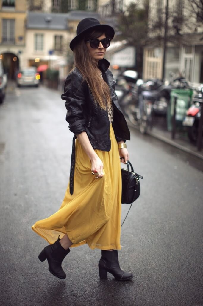 A bright mustard yellow maxi skirt with booties is the perfect way to add some color to a dull day. Don't forget a chic leather jacket to make the look fall worthy.