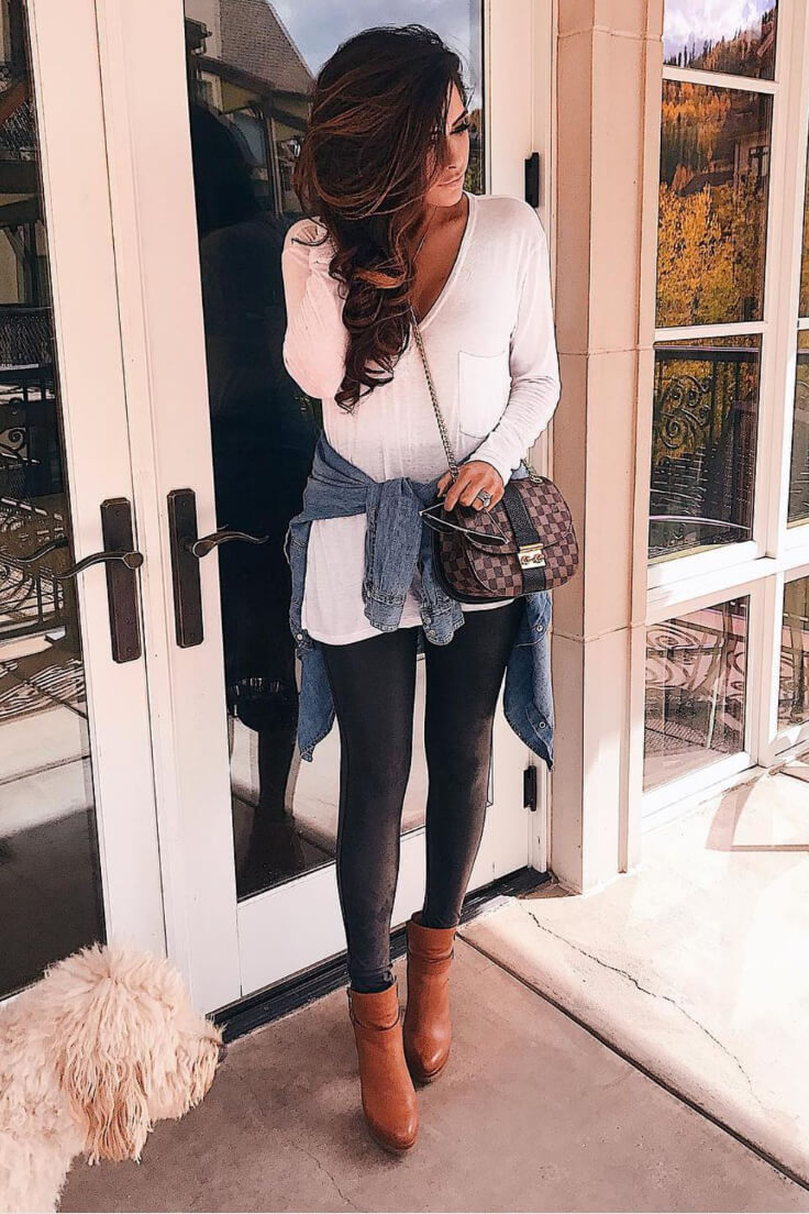 Turn on the sexy in a deep V neck top with skinny pants tucked into brown booties. This is a fashiontastic look for brunch with the girls!