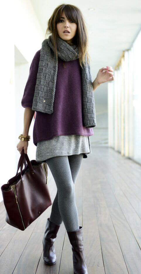 A thick skirt is perfect for fall. Wear yours with a sweater top, leggings, and a knit scarf.
