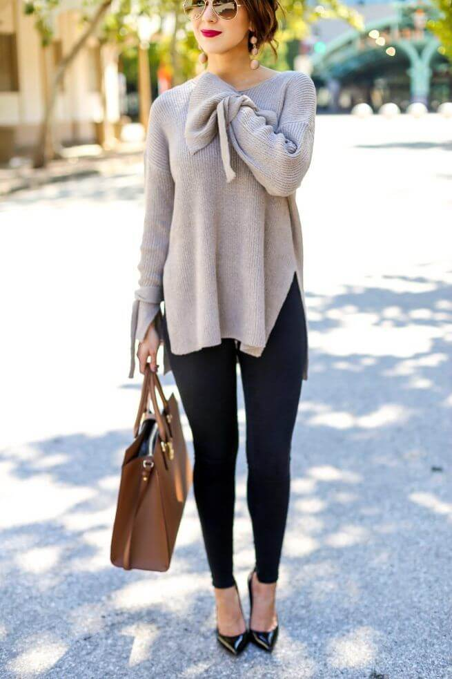Don't you just love this slouchy sweater with flute sleeves? Add black pumps and red lipstick for that perfect lunch date look.