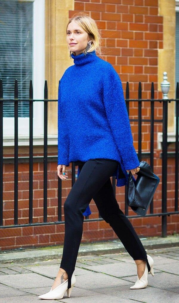 Ladies we've got some news for you. Stirrup leggings are back and how! Pair yours with a statement royal blue sweater and heels!