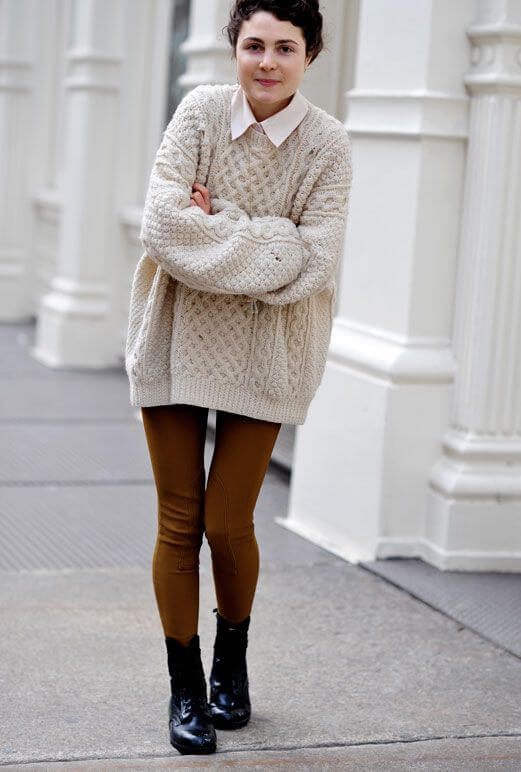 This preppy look with a thick knit sweater is perfect for anyone!