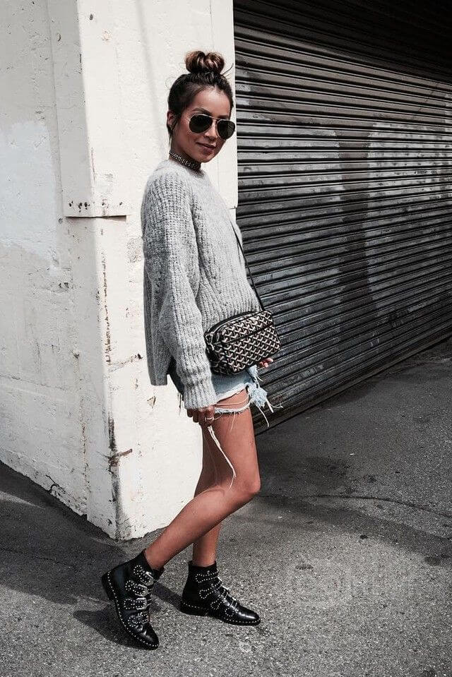 Try a heavy knit sweater with distressed shorts and studded booties for an effortlessly chic fall look.