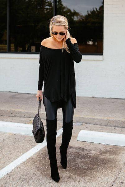 A long off-shoulder top looks fantastic with skinny leggings. Add matching boots to complete the all-black look.