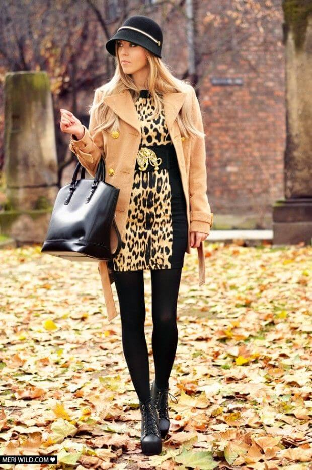 Animal print dresses look classy with leggings and lace-up boots.