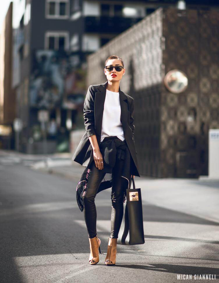 There's something about a blazer that adds instant sophistication to any look. Brown open toe boots add a nice contrast to this black and white look.