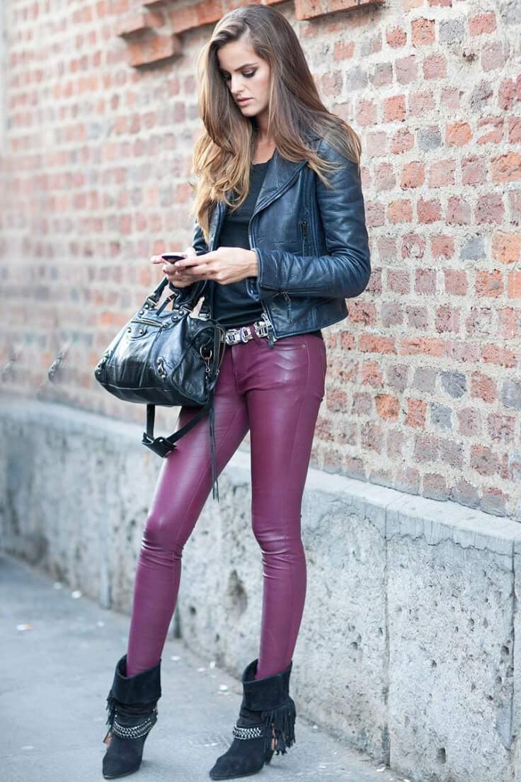Colored leather leggings are something else!
