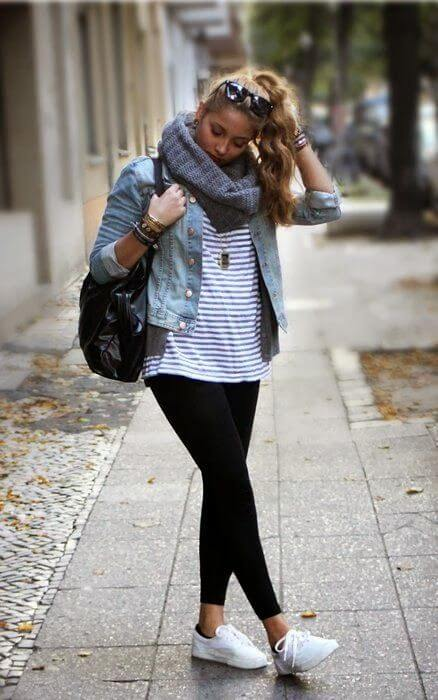 For a relaxed weekend look, try pairing a striped tee with a denim jacket, white sneakers, and a circle scarf.
