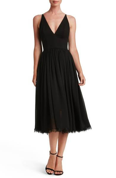 The Must-Have Ladylike Black Dress: Dress the Population Alicia Mixed Media Midi Dress
