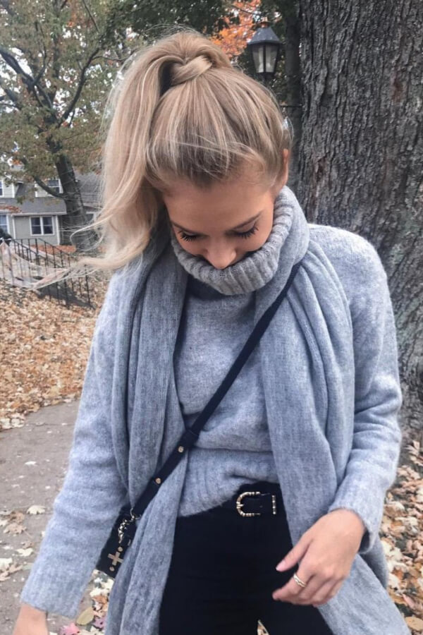 A ponytail will complement your winter layers perfectly