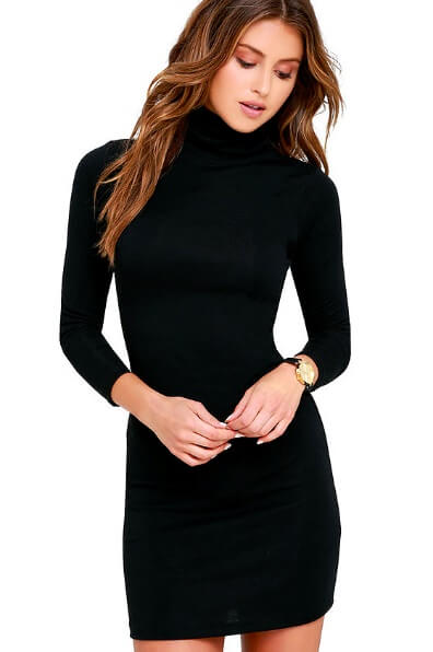 The All-Season Multi-Tasker: Black Long Sleeve Bodycon Dress