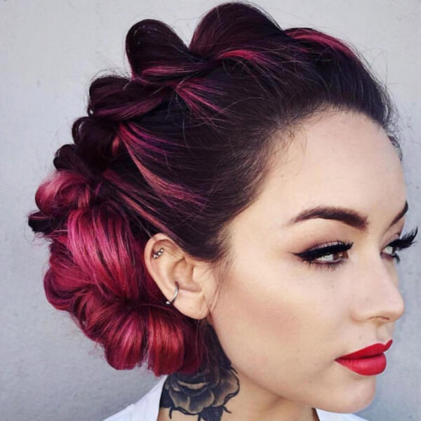 Everything about this look from the berry color to the updo to the makeup is sublime!