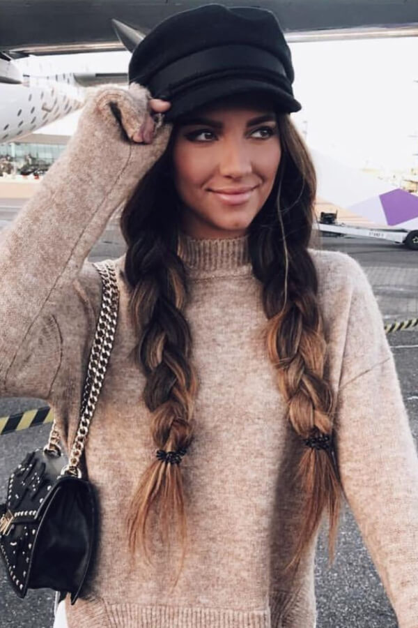 Two braids and a hat equals an attractive winter look