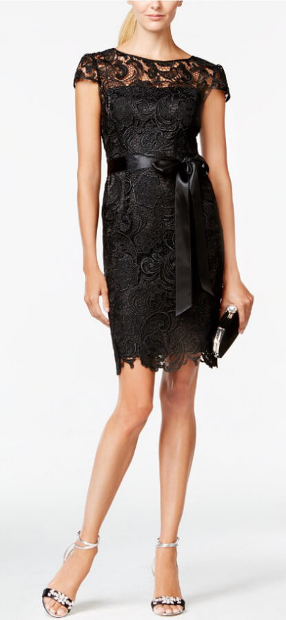 The Timeless Lace Dress: Adrianna Papell Lace Cap-Sleeve Illusion Sheath Dress