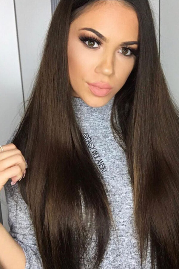 Long straight brown hair looks fabulous winter or summer