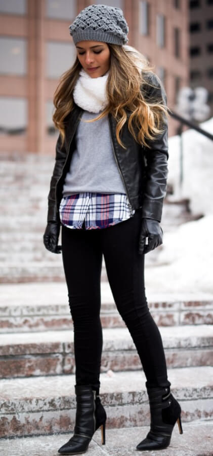 Don't let the need to be cozy stop you from looking your stylish best. Layer a plaid button-down shirt underneath warm layers and edgy pointed leather ankle boots.