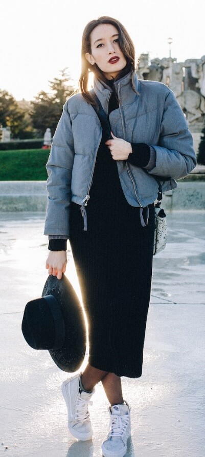 Cold and rainy outside? Just throw on a puffer jacket over a woolen dress and hi-top sneakers