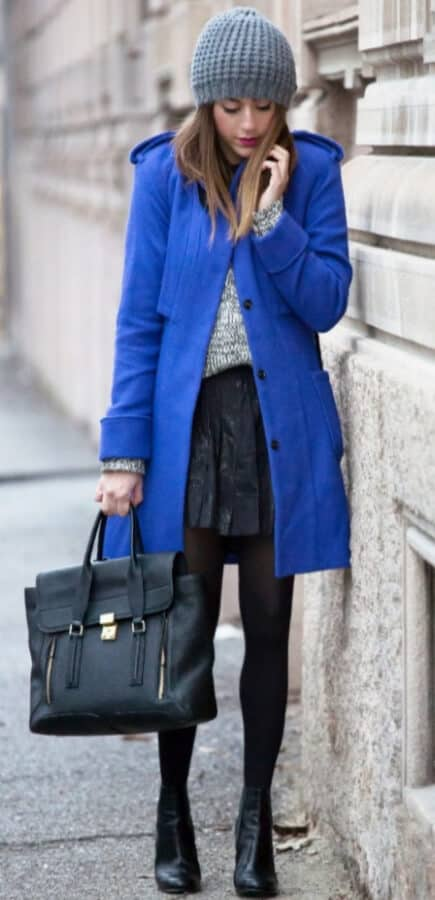 Got a case of the winter blues? No need – just wrap up in a striking structured coat of cobalt blue worn over a cute textured skirt and leather ankle boots.