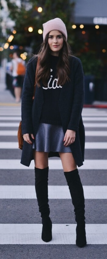 Show a bit of leg while the rest of you stays covered up. Take a graphic sweater and style it with a mini skirt, long suede boots and a long cardigan.