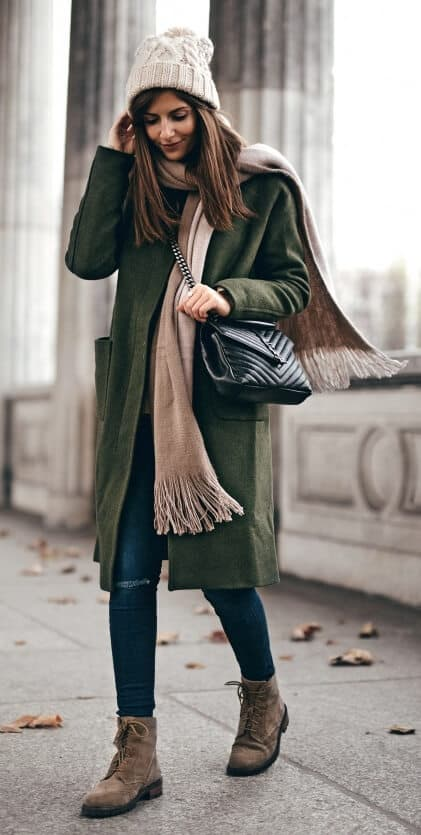 Cold days call for cozy comfort. Keep the winter chill at bay by wrapping up in luscious layers of denim, wool and khaki.