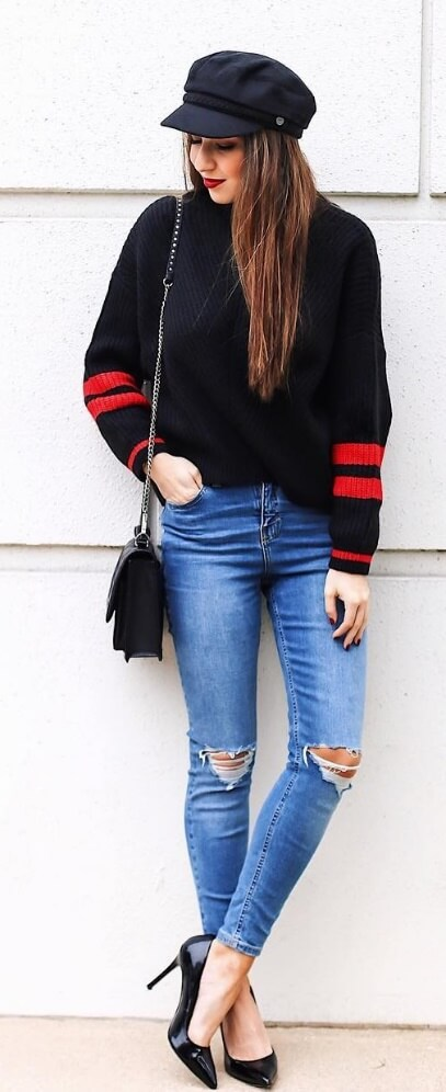 Nothing says edgy street style like ripped denim jeans and an oversized sweater. Give it a glamorous edge with shiny stilettos and a cool poor boy cap.