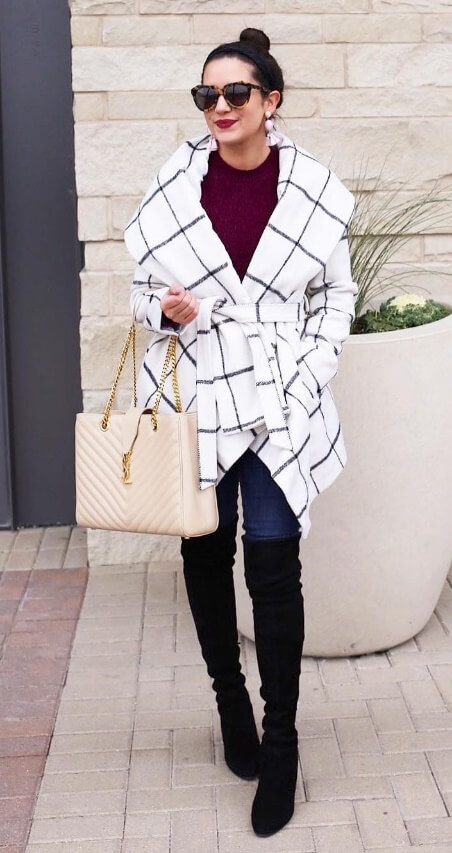 One more for your investment list: this black-and-white check wrap coat - perfect over just about every winter street style ensemble.