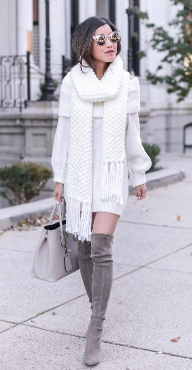 For the girly girls out there, there is brilliant winter white to make a classy statement in the chilly temperatures. Over-the-knee suede boots give it that must-have cool factor.