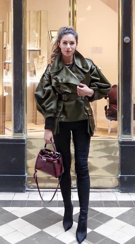 The olive green trend rages on; this time in a roomy wrap jacket in slick, shiny leather. Make a street style look of it with skinny black jeans and pointed high-heel boots.