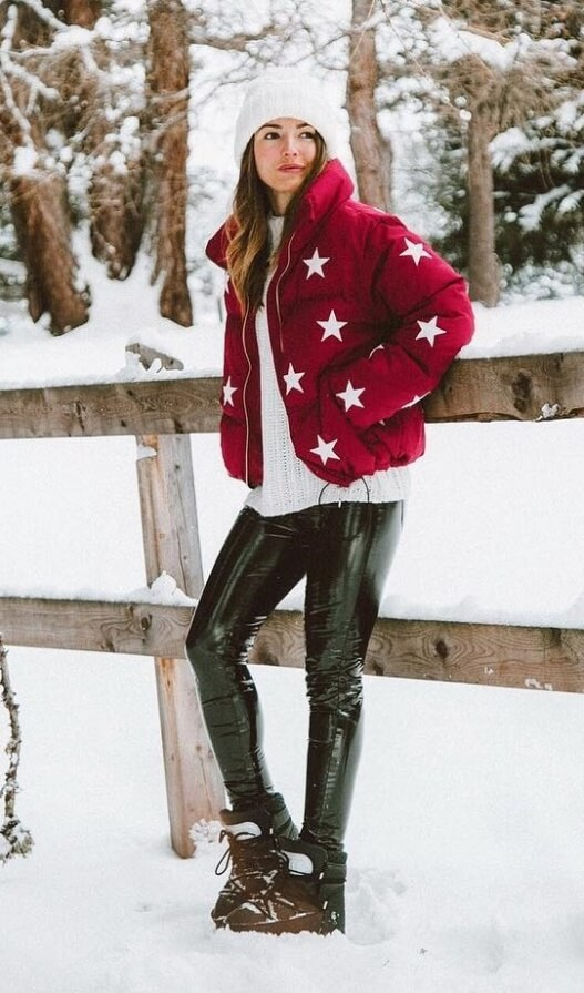 Let the stars come out to play in a cheeky puffer jacket adorned with stars. Worn with patent leather and snow boots, it doesn't get any cozier.