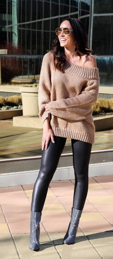Take the off-the-shoulder trend up a style notch by matching it with skintight leather leggings and gray suede boots.
