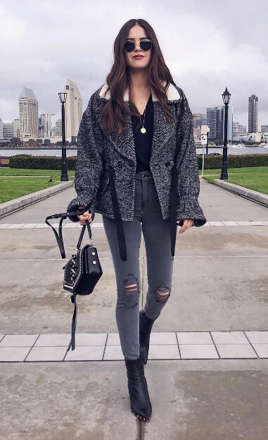 Charcoal gray is the modern street style at its coolest. Stock up on this color with ripped jeans and a wrap winter coat to match your most-worn style staples.