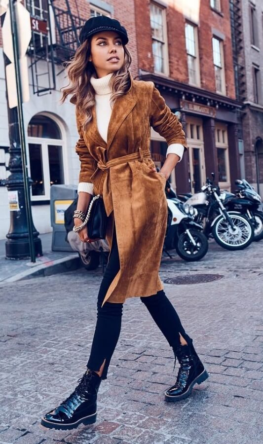 Make sure you invest in a neutral winter coat this season. May we recommend gorgeous brown suede - the perfect match for skinny jeans and Doc Marten boots.