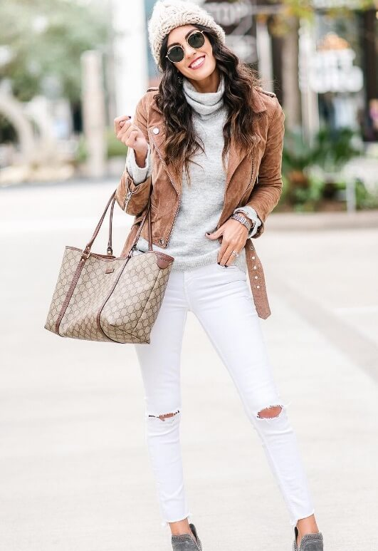 Be a ray of sunshine this winter in the brightest whites you can find. Then top it off with trendy brown suede and you have all the makings of a social media ingénue.