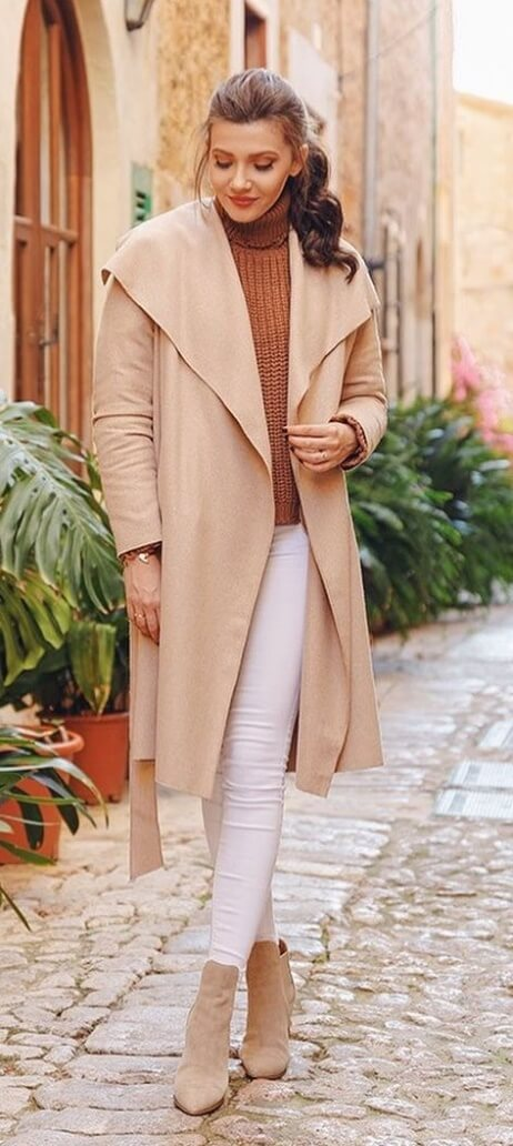 A beige wrap coat is quickly becoming a winter investment piece; one that's guaranteed to make waves for many seasons to come.