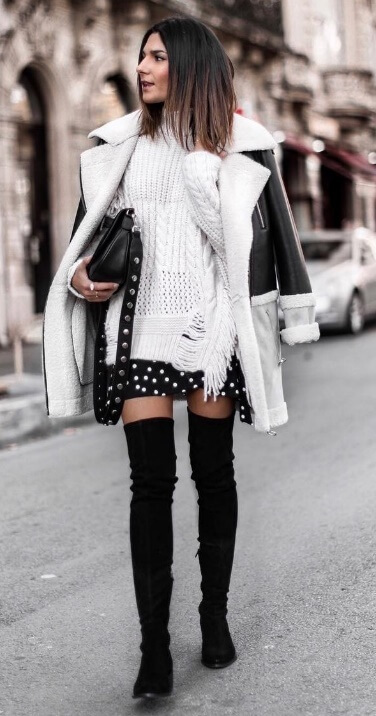 A sweet little polka dot dress may not seem like the edgy street style. But add on a leather coat and thigh-high boots and you've created something edgy, urban and gorgeous.