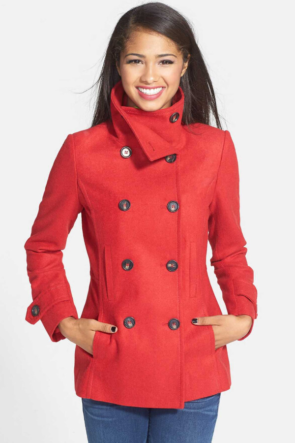 Red is one of the hottest colors this season, so sizzle away in this must-have peacoat that is as stunning as it is versatile